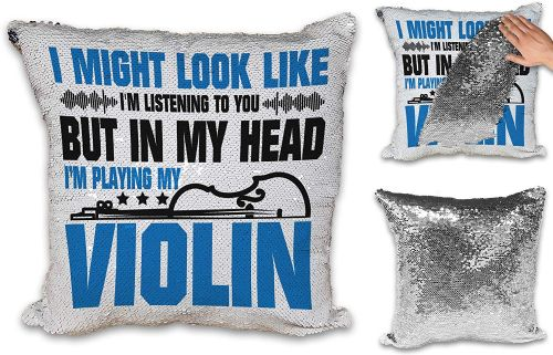 in My Head I'm Playing My (Instrument) Funny Novelty Sequin Reveal Magic Cushion Cover